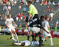 04 September 2009: Andrew Quinn #0 of the University of Notre Dame catches the ball over Ike Opara #23 of Wake Forest University during an Adidas Soccer Classic match at the University of Indiana in Bloomington, In. The game ended in a 1-1 tie..