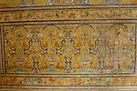 Detail of tiled dado in the Palacio Gotico (also known as the Halls of CharlesV) Salas de las Fiestas (or Halls of Celebration 1576-88 in El Alcazar in Seville, Spain.