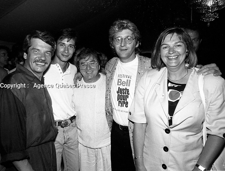 Montreal (Qc) CANADA - July 1992 File Photo - Juste Pour Rire Festival - - Jean Dore, mayor of Montreal, Stephane Rousseu, Cynique, Gilbert Rozon,