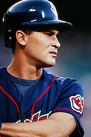 Omar Vizquel of the Cleveland Indians during a game against the Anaheim Angels at Angel Stadium circa 1999 in Anaheim, California. (Larry Goren/Four Seam Images)