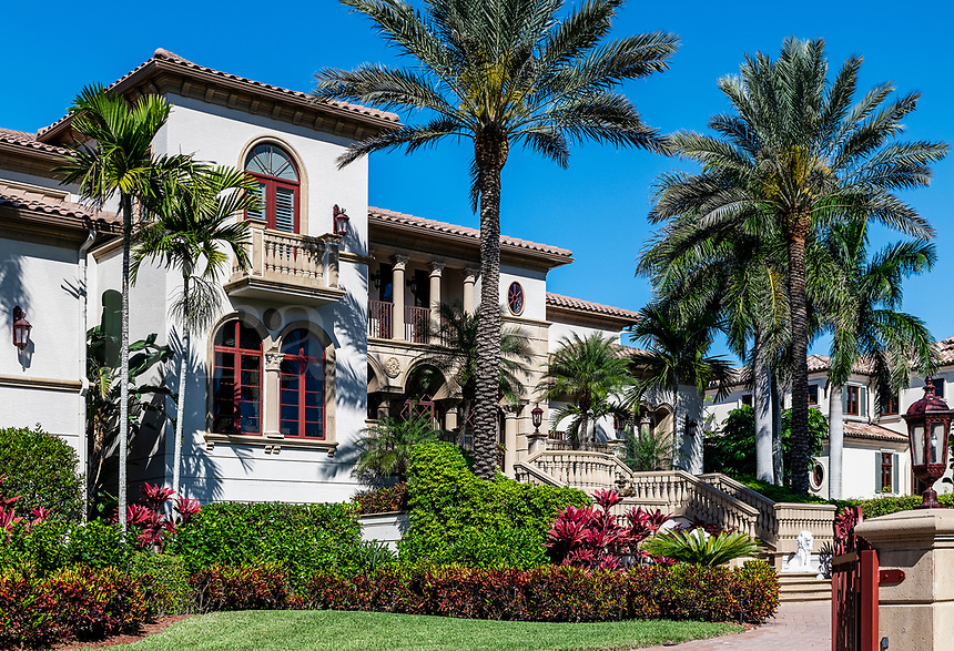 Grand mansion exterior, Old Naples, Florida, USA.
