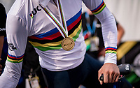 Filippo Ganna (ITA/Ineos Grenadiers) rocking a new gold medal and a fresh rainbow jersey<br /> <br /> Men Elite Individual Time Trial <br /> from Knokke-Heist to Bruges (43.3 km)<br /> <br /> UCI Road World Championships - Flanders Belgium 2021<br /> <br /> ©kramon