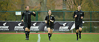 referee Irmgard Van Meirvenne (M) with assistant referee Glenn Lakiere (R) and Toon Bonduel (L)  pictured during a female soccer game between SV Zulte - Waregem and KRC Genk on the 8 th matchday of the 2020 - 2021 season of Belgian Scooore Women s SuperLeague , saturday 21 th of November 2020  in Zulte , Belgium . PHOTO SPORTPIX.BE   SPP   DIRK VUYLSTEKE