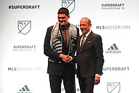 Philadelphia, PA - Thursday January 19, 2018: Eric Dick, Don Garber during the 2018 MLS SuperDraft at the Pennsylvania Convention Center.