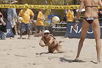 Huntington Beach, CA - 5/5/07:   Barbra Fontana dives for the ball during May-Treanor / Walsh's 21-13, 21-19 victory over DeNecochea / Fontana Saturday during the 2007 AVP CROCS Tour in Huntington Beach..Photo by Carlos Delgado