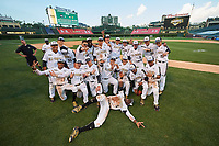National team photo after the Under Armour All-American Game on August 15, 2015 at Wrigley Field in Chicago, Illinois. Front Taylor Trammell (5); Kneeling Delvin Perez (1), Michael Amditis (2), Seth Beer (12), Alex Toral (10), Bo Bichette (19), Gregory Veliz (0), Austin James (23);  Standing Jesus Luzardo (9), Andy Yerzy (15), Jonathan Gettys (33), Alek Manoah (47), AJ Brown (3), Dylan Carlson (6), Forrest Whitley (26), Riley Pint (27), Hunter Bishop (31), Graeme Stinson (8), Anthony Molina (25), Rian Haire (20).  (Mike Janes/Four Seam Images)