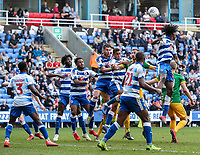 Preston North End's Louis Moult  competing with seven Reading players<br /> <br /> Photographer Andrew Kearns/CameraSport<br /> <br /> The EFL Sky Bet Championship - Reading v Preston North End - Saturday 30th March 2019 - Madejski Stadium - Reading<br /> <br /> World Copyright © 2019 CameraSport. All rights reserved. 43 Linden Ave. Countesthorpe. Leicester. England. LE8 5PG - Tel: +44 (0) 116 277 4147 - admin@camerasport.com - www.camerasport.com