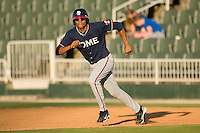 Christian Bethancourt #19 of the Rome Braves takes his lead off of first base against the Kannapolis Intimidators at Fieldcrest Cannon Stadium April 11, 2010, in Kannapolis, North Carolina.  Photo by Brian Westerholt / Four Seam Images