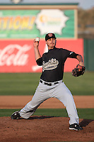 Bud Jeter (32) of the Visalia Rawhide pitches against the Lancaster JetHawks at The Hanger on May 7, 2016 in Lancaster, California. Lancaster defeated Visalia, 19-5. (Larry Goren/Four Seam Images)