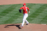 Cincinnati Reds pitcher Sam LeCure #63 during a game against the Miami Marlins at Great American Ball Park on April 20, 2013 in Cincinnati, Ohio.  Cincinnati defeated Miami 3-2 in 13 innings.  (Mike Janes/Four Seam Images)