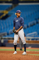 Jhonleider Salinas (31) gets ready to deliver a pitch during the Tampa Bay Rays Instructional League Intrasquad World Series game on October 3, 2018 at the Tropicana Field in St. Petersburg, Florida.  (Mike Janes/Four Seam Images)