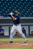 AZL Brewers left fielder Leugim Castillo (57) bats during a game against the AZL Cubs on August 1, 2017 at Sloan Park in Mesa, Arizona. Brewers defeated the Cubs 5-4. (Zachary Lucy/Four Seam Images)