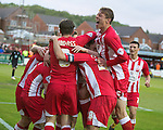 © Joel Goodman - 07973 332324 . 18/05/2016 . Accrington , UK . Accrington Stanley celebrate going 2-0 up . Accrington Stanley take on AFC Wimbledon at the Wham Stadium , in the 2nd leg of their League Two tie , the result from which will decide which team goes on to the final at Wimbledon . Photo credit : Joel Goodman