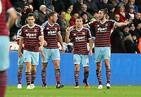 Pictured: Andy Carroll of West Ham (R) celebrating his opening goal Saturday 10 January 2015<br /> Re: Barclays Premier League, Swansea City FC v West Ham United at the Liberty Stadium, south Wales, UK