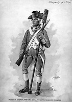 Provincial Company, New York Artillery.  Captain Alexander Hamilton 1776.  Watercolor by D.W.C. Falls, 1923. (U.S. Regular Army Mobile Units)<br /> Exact Date Shot Unknown<br /> NARA FILE #:  391-AR-2-1<br /> WAR & CONFLICT #:  25