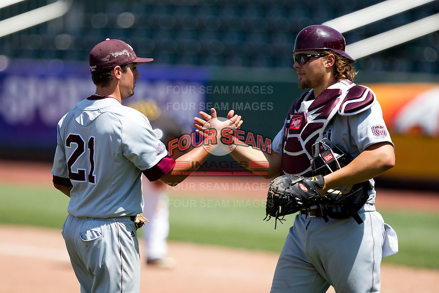 Luke Voit (30) of the Missouri State Bears celebrates after defeating the Wichita State Shockers in a game during the 2012 Missouri Valley Conference Championship Tournament at  Hammons Field on May 23, 2012 in Springfield, Missouri. (David Welker/Four Seam Images)