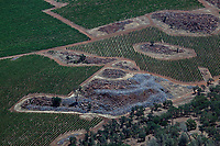 aerial photograph vineyards created over rocky soil, eastern Napa County, California