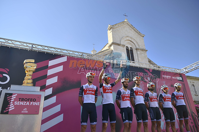 Trek-Segafredo at sign on before the start of Stage 8 of the 103rd edition of the Giro d'Italia 2020 running 200km from Giovinazzo to Vieste, Sicily, Italy. 10th October 2020.  <br /> Picture: LaPresse/Marco Alpozzi | Cyclefile<br /> <br /> All photos usage must carry mandatory copyright credit (© Cyclefile | LaPresse/Marco Alpozzi)