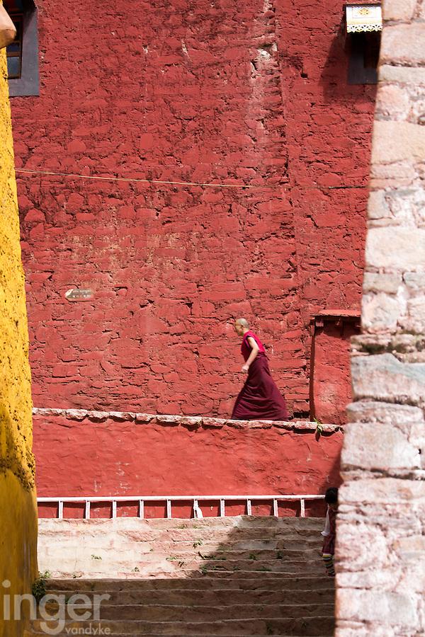 Monks at Ganden Monastery in Tibet
