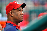 24 September 2011: Washington Nationals pitcher Livan Hernandez sits in the dugout during a game against the Atlanta Braves at Nationals Park in Washington, DC. The Nationals defeated the Braves 4-1 to even up their 3-game series. Mandatory Credit: Ed Wolfstein Photo