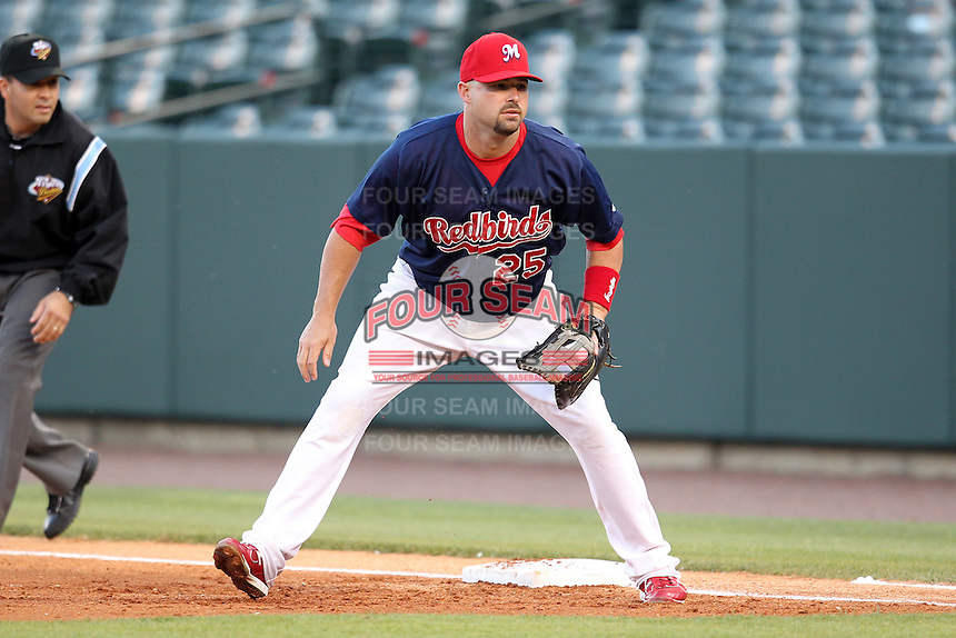 Memphis Redbirds first baseman Nick Stavinoha #25 during a game versus the Round Rock Express at Autozone Park on April 28, 2011 in Memphis, Tennessee.  Memphis defeated Round Rock by the score of 6-5 in ten innings.  Photo By Mike Janes/Four Seam Images