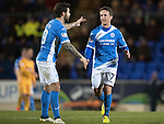 St Johnstone v Motherwell…17.12.16     McDiarmid Park    SPFL<br />Chris Millar gets a pat on the back from Richie Foster as he is subbed<br />Picture by Graeme Hart.<br />Copyright Perthshire Picture Agency<br />Tel: 01738 623350  Mobile: 07990 594431