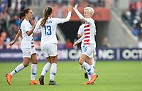 Houston, TX - Sunday April 8, 2018: Carli Lloyd, Alex Morgan, Megan Rapinoe celebrate during an International friendly match versus the women's National teams of the United States (USA) and Mexico (MEX) at BBVA Compass Stadium.