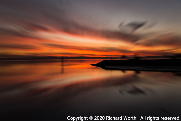A winter sunset along San Francisco Bay turns dream-like through in-camera techniques..