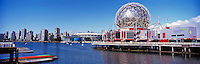 Telus World of Science (aka Science World), City of Vancouver Skyline, Edgewater Casino, and BC Place Stadium (New Roof completed in 2011) at False Creek, Vancouver, BC, British Columbia, Canada - Renovation at Science World completed in 2012 - Panoramic View