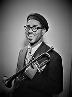 Bebop's Gabriel: Portrait of Dizzy Gillespie. New York, N.Y., ca. 1947.<br /> <br /> Photo by William Gottlieb.<br /> <br /> columnist William Gottlieb who was best known for his portraits and candid shots of Jazz musicians in the 1940s