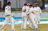 Danny Lamb of Lancashire is mobbed after bowling Joe Denly (L) during Kent CCC vs Lancashire CCC, LV Insurance County Championship Group 3 Cricket at The Spitfire Ground on 25th April 2021