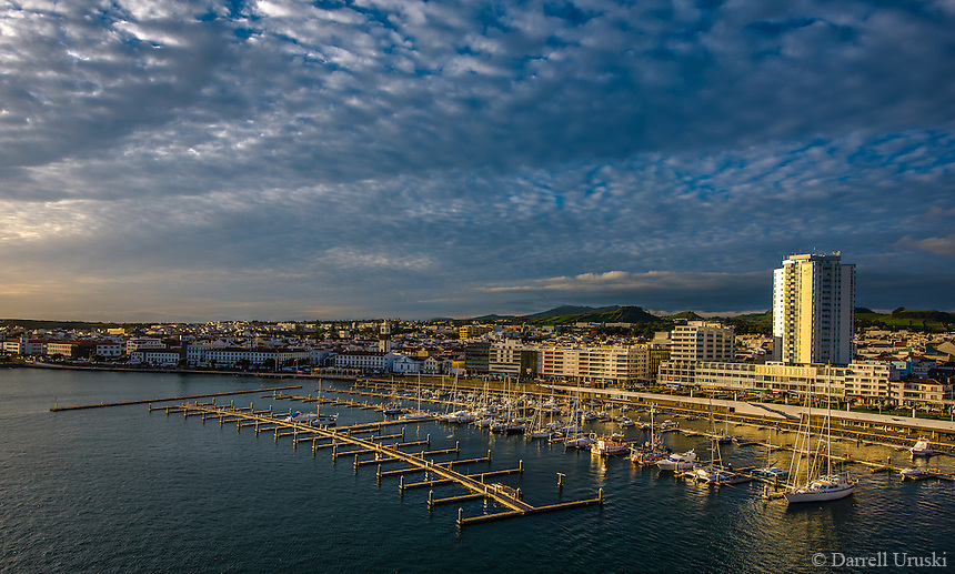 Fine Art Landscape Photograph, of the marina and costal ocean port in Ponta Delgada.