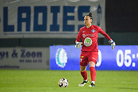 Gent's goalkeeper Nicky Evrard pictured during a female soccer game between  AA Gent Ladies and Oud Heverlee Leuven on the 9th matchday of the 2020 - 2021 season of Belgian Scooore Womens Super League , friday 11 th of December 2020  in Oostakker , Belgium . PHOTO SPORTPIX.BE | SPP | DIRK VUYLSTEKE