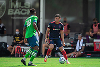 LAKE BUENA VISTA, FL - JULY 14: Miguel Navarro #6 of the Chicago Fire dribbles the ball during a game between Seattle Sounders FC and Chicago Fire at Wide World of Sports on July 14, 2020 in Lake Buena Vista, Florida.