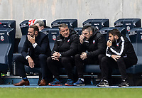 Bolton Wanderers' head coach Ian Evatt (left) looks on <br /> <br /> Photographer Andrew Kearns/CameraSport<br /> <br /> The EFL Sky Bet League Two - Bolton Wanderers v Oldham Athletic - Saturday 17th October 2020 - University of Bolton Stadium - Bolton<br /> <br /> World Copyright © 2020 CameraSport. All rights reserved. 43 Linden Ave. Countesthorpe. Leicester. England. LE8 5PG - Tel: +44 (0) 116 277 4147 - admin@camerasport.com - www.camerasport.com