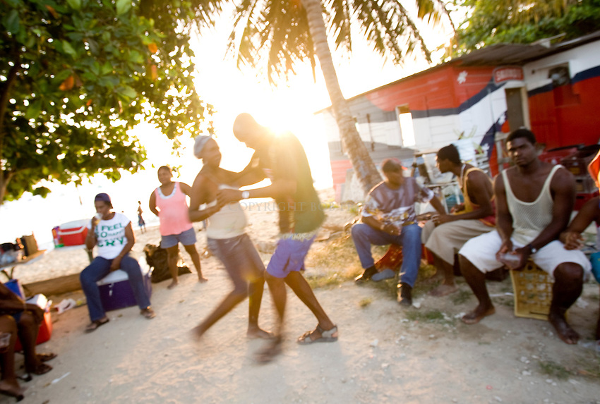 Beach party outside John Moore Rum Shop (between Holetown and Speightstown).St. James Parish.Barbados