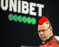 12th March 2020; M and S Bank Arena, Liverpool, Merseyside, England; Professional Darts Corporation, Unibet Premier League Liverpool; Peter Wright pulls a face