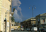 View of Mt. Etna erupting from Nicolosi, Sicily, Italy
