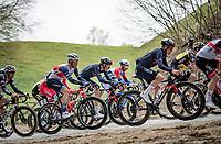 Tom Pidcock (GBR/Ineos Grenadiers) followed by Jasper Stuyven (BEL/Trek-Segafredo) up the brutal Moskesstraat cobbles<br /> <br /> 61st Brabantse Pijl 2021 (1.Pro)<br /> 1 day race from Leuven to Overijse (BEL/202km)<br /> <br /> ©kramon