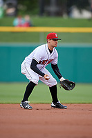 Indianapolis Indians shortstop Max Moroff (2) during a game against the Toledo Mud Hens on May 2, 2017 at Victory Field in Indianapolis, Indiana.  Indianapolis defeated Toledo 9-2.  (Mike Janes/Four Seam Images)