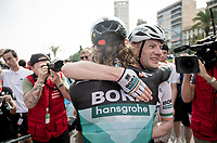 Sam Bennett (IRL/Bora-Hansgrohe) wins the bunch sprint into Alicante & is congratulated by teammate Shane 'The Mullet' Archbold (NZL/Bora-Hansgrohe)<br /> <br /> Stage 3: Ibi. Ciudad del Juguete to Alicante (188km)<br /> La Vuelta 2019<br /> <br /> ©kramon