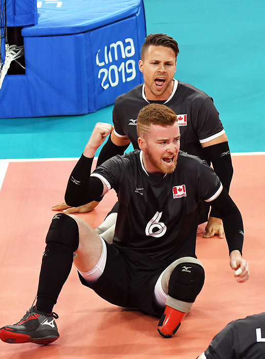 Bryce Foster, and Jesse Ward, Lima 2019 - Sitting Volleyball // Volleyball assis.<br /> Canada competes in men's Sitting Volleyball // Canada participe au volleyball assis masculin. 24/08/2019.