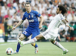 Real Madrid's Marcelo Vieira (r) and Juventus' Stephan Lichtsteiner during Champions League 2014/2015 Semi-finals 2nd leg match.May 13,2015. (ALTERPHOTOS/Acero)
