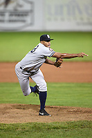 Staten Island Yankees pitcher Andury Acevedo (48) delivers a pitch during a game against the Batavia Muckdogs on August 8, 2014 at Dwyer Stadium in Batavia, New York.  Staten Island defeated Batavia 4-2.  (Mike Janes/Four Seam Images)