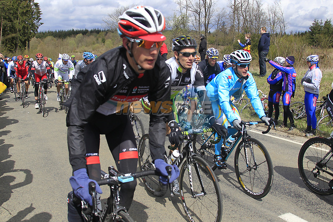 The peloton including Andy Schleck (LUX) Radioshack-Nissan climb Cote de la Roche-en-Ardenne during the 98th edition of Liege-Bastogne-Liege, running 257.5km from Liege to Ans, Belgium. 22nd April 2012.  <br /> (Photo by Eoin Clarke/NEWSFILE).