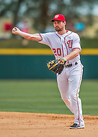 13 March 2016: Washington Nationals infielder Daniel Murphy gets the third out in the 5th inning of a pre-season Spring Training game against the St. Louis Cardinals at Space Coast Stadium in Viera, Florida. The teams played to a 4-4 draw in Grapefruit League play. Mandatory Credit: Ed Wolfstein Photo *** RAW (NEF) Image File Available ***