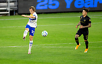 LOS ANGELES, CA - SEPTEMBER 02: Florian Jungwirth #23 of the San Jose Earthquakes passes off the ball during a game between San Jose Earthquakes and Los Angeles FC at Banc of California stadium on September 02, 2020 in Los Angeles, California.
