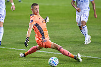 CHICAGO, UNITED STATES - AUGUST 25: Przemyslaw Tyton #22 of FC Cincinnati is unable to block a shot from Ignacio Aliseda #7 of Chicago Fire for a goal during a game between FC Cincinnati and Chicago Fire at Soldier Field on August 25, 2020 in Chicago, Illinois.
