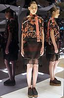Model in Look 12: Fall Leaves Top, Suiting Stripe Skirt
