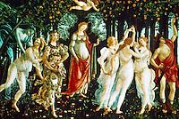 Renaissance Art:  Botticelli--La Primavera (The Spring).   Galleria Uffizi.